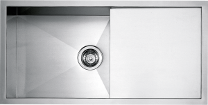 "86.5×45.5 cm built-in and flush square bowl sink with radius ""0"" 1 bowl + drainer"