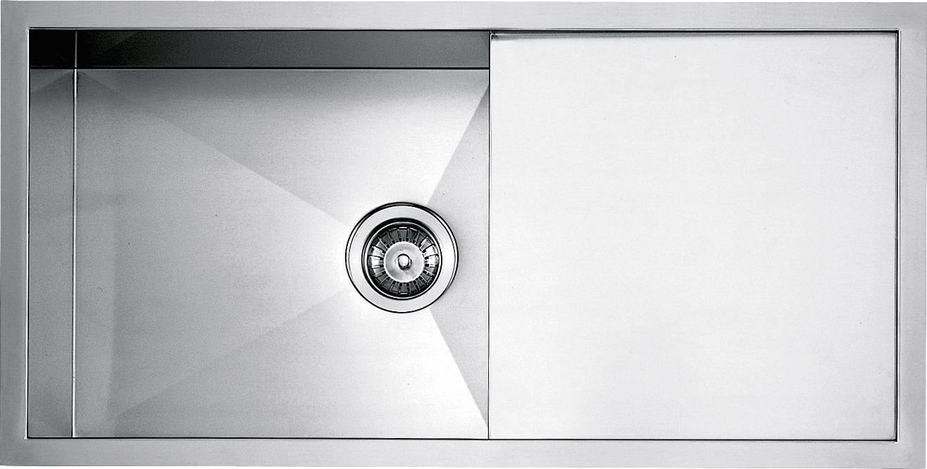 Lavello vasca quadra raggio 0 da 86 5x45 5 barazza srl - Lavandino doppia vasca cucina ...