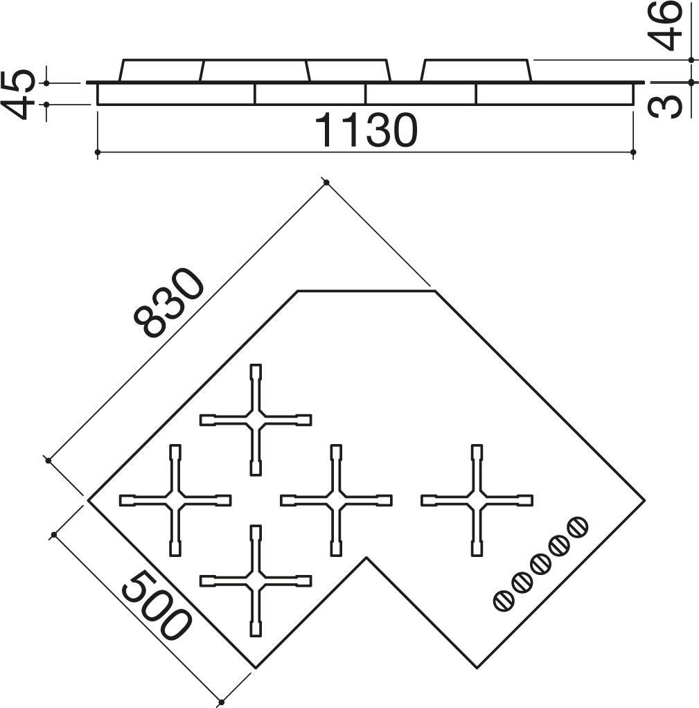Piano cottura Select incasso da 90 ad angolo - Barazza srl