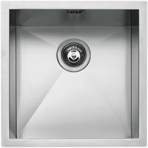 "40×40 cm built-in, flush and undermounted square bowl with radius ""0"""