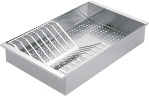 Stainless steel colander with draining-rack