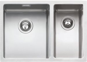 "58.5×44 cm flush and built-in double square bowl sink with radius ""15"""