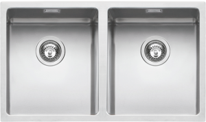 "75×44 cm flush and built-in double square bowl sink with radius ""15"""