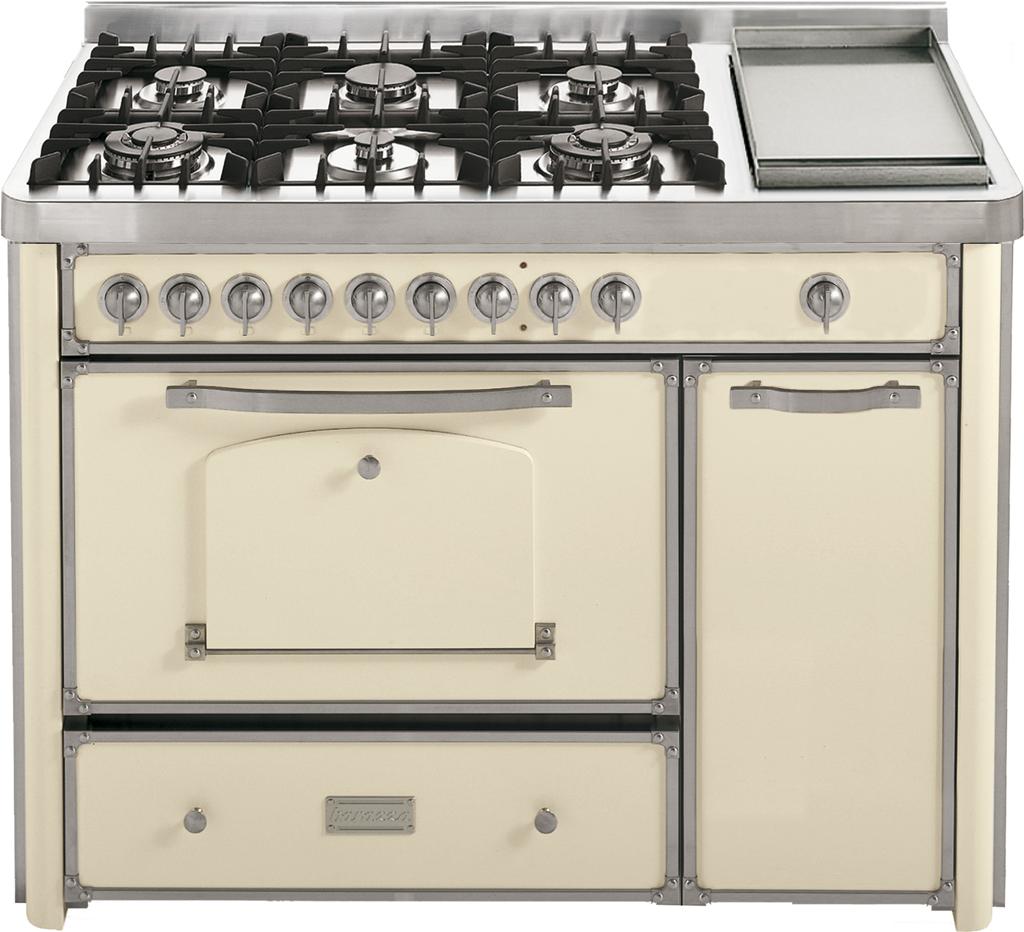 Cucina da 123 con piano cottura 4 gas, 2 tripla corona e Fry Top ...