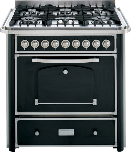 90 cm cooker with 4 gas burners and 2 triple rings hob with large handle