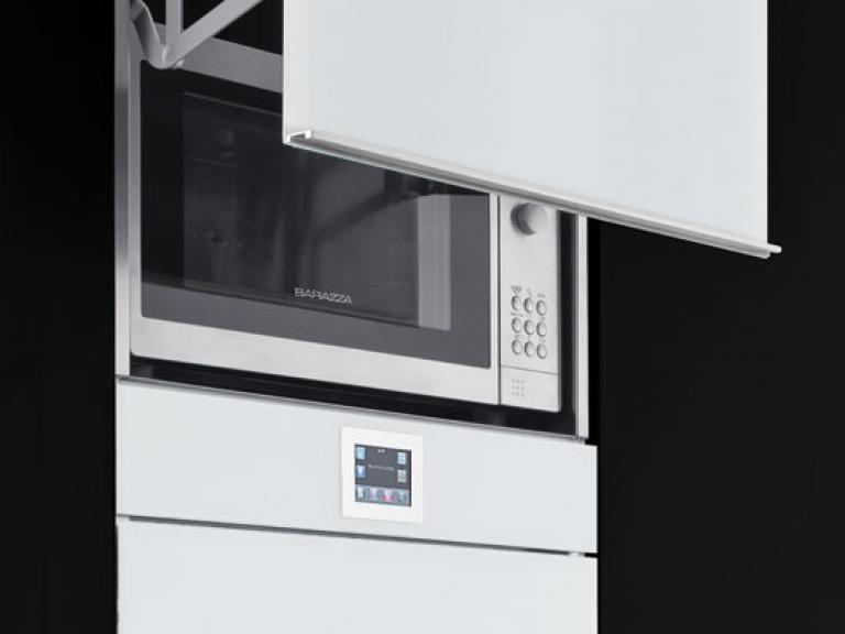 Microwave oven lift-up door