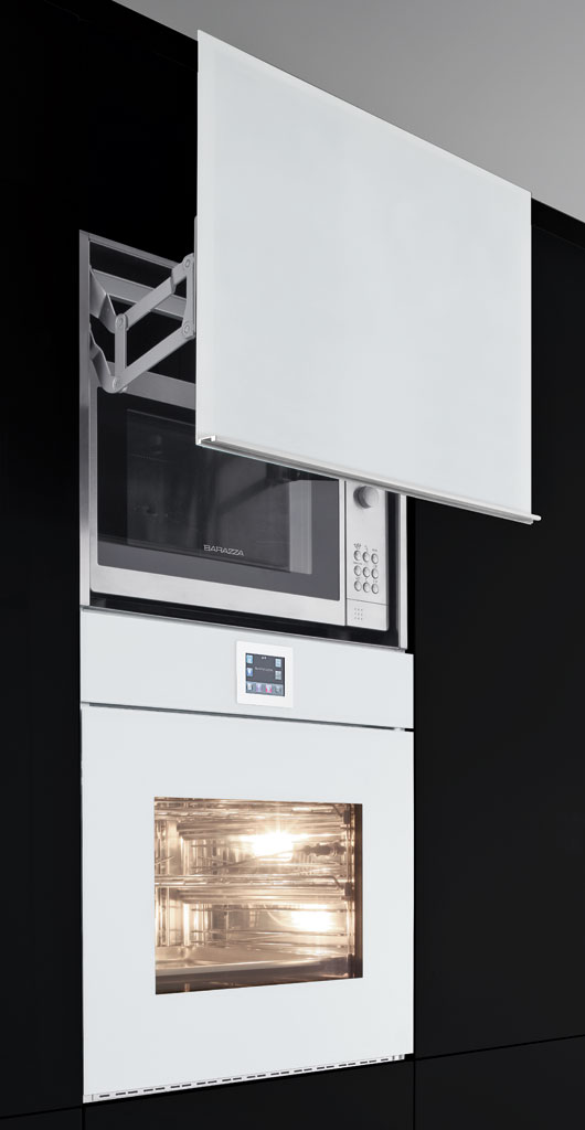 Microwave oven lift-up door