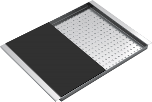 Rectangular stainless steel bowl cover with black chopping board