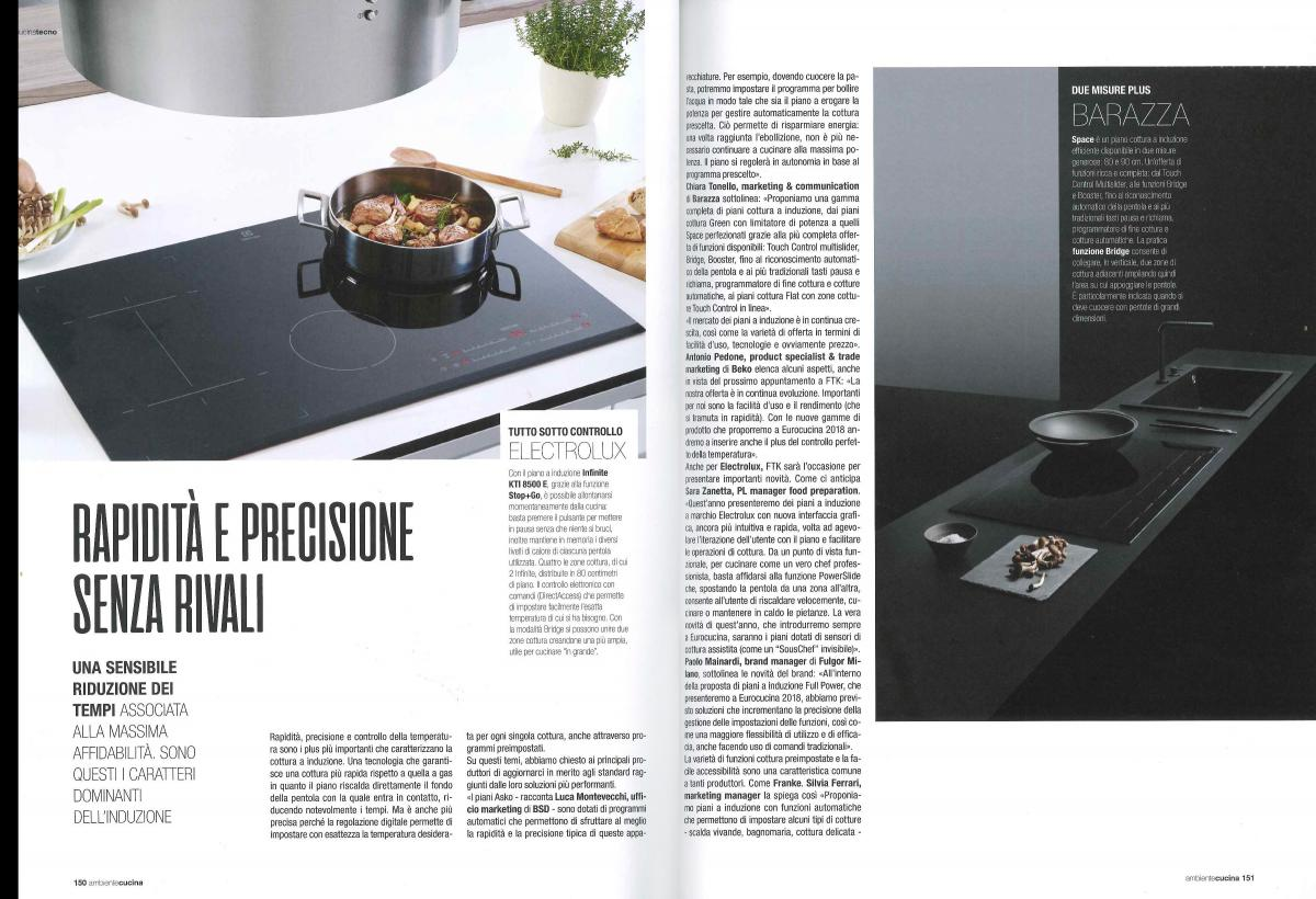 "SPACE INDUCTION HOBS ON ""AMBIENTE CUCINA"" MAGAZINE"