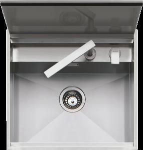 Lavello Lab con coperchio incasso e filo 57×51