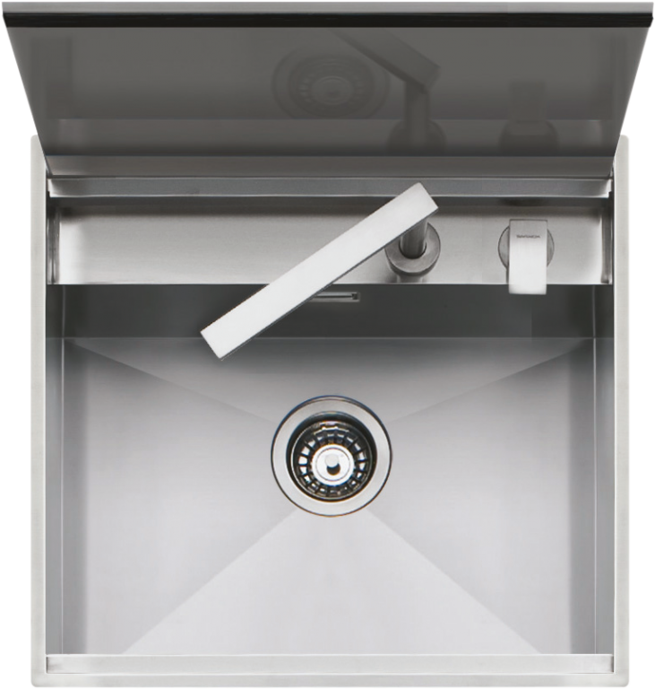 57×51 cm built-in and flush Lab sink with cover