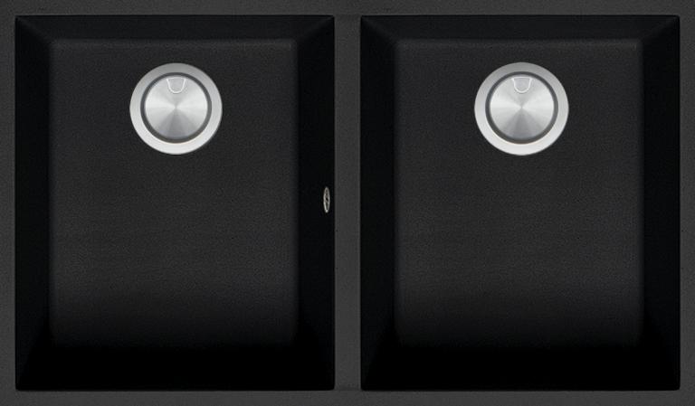 Double Cuve Carrée Soul de 72×39,5 B_granit noir