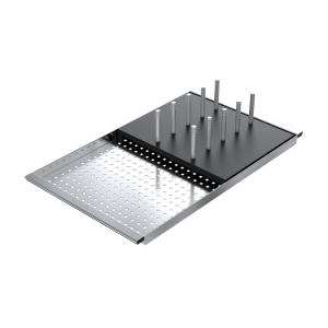 Sliding stainless steel bowl cover with black HPL draining rack