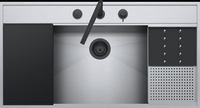 Lavello Flexi Kit incasso e filo da 105×56  1 vasca con abbassamento + Kit accessori e rubinetto