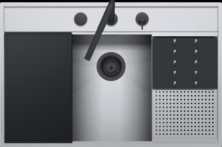 Lavello Flexi Kit incasso e filo da 86×56  1 vasca con abbassamento + Kit accessori e rubinetto