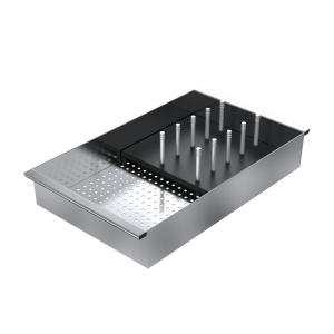 Sliding stainless steel colander with black HPL draining rack