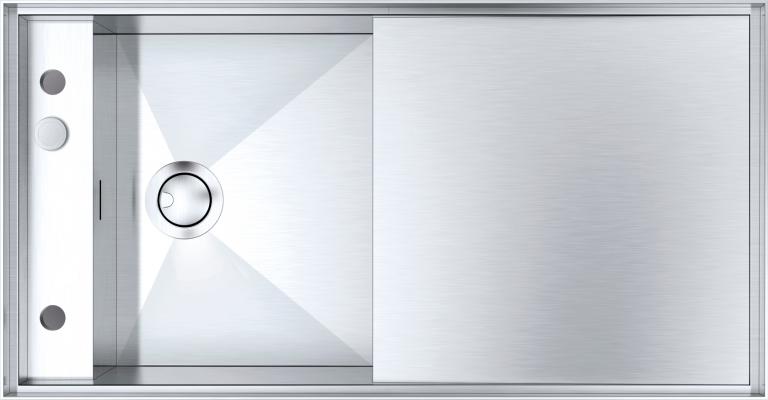 Fregadero Mizu de 100×52 1 cubeta con rebaje + escurridor